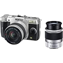 Pentax Q7 12.4MP Compact System Camera with 02 Standard Zoom 5-15mm f2.8-4.5 and 06 Telephoto Zoom 15-45mm f2.8 Lenses (Silver)