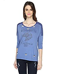 Bedazzle Casual 3/4 Sleeve Embellished Women's Blue Top