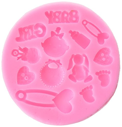 Longzang F0486 Baby Shower Fondant Silicone Sugar Craft Mold, Mini