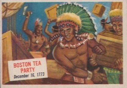 1954 Topps Scoop (R714-19) (Non-Sports) Card# 28 Boston Tea Party - Dec 16 1773 Ex Condition
