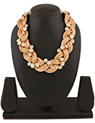 Riana Angel Triple Twist Gold And Diamond Layered Necklace For Women And Girls