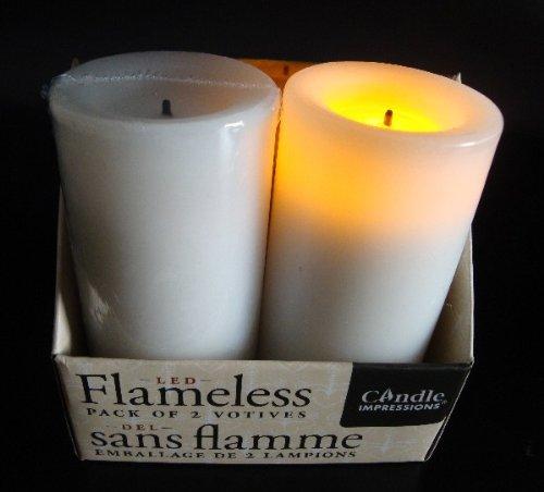 Flammenlose Stumpenkerze WEISS 7.4 cm