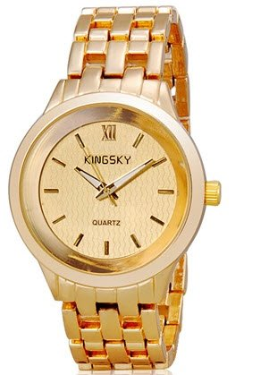KINGSKY 8812G Unisex Quartz Analog Watch with Stainless Steel Strap (Gold) M. (Ebel Type E compare prices)