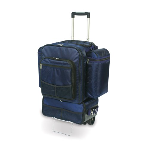Picnic Time Excursion Deluxe Cooler on Wheels with Picnic Service for 4, Navy (Picnic Time Rolling Cooler compare prices)