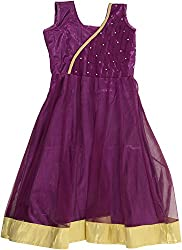 Kanchoo Girls' Long Frock (BSKF006_3-4years, Purple, 3-4years)