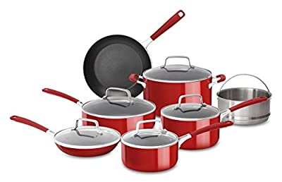 KitchenAid KC2AS12ER Aluminum Nonstick 12 Piece Cookware Set, Empire Red