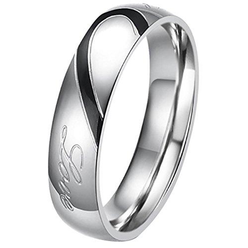 """JewelryWe Gioielli anello da uomo donna acciaio inossidabile promessa """"Real Love"""" e amore cuore dipinto fidanzamento matrimonio Bands (uomo misura P)"""