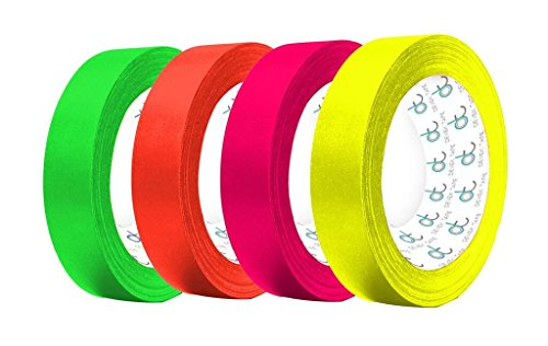 Devek Professional's Choice Premium Neon U.V Spike / Gaffer Tape Matte Cloth With Rubber Adhesive 12.5 Mil Thick Rainbow Pack - Neon - Green , Orang