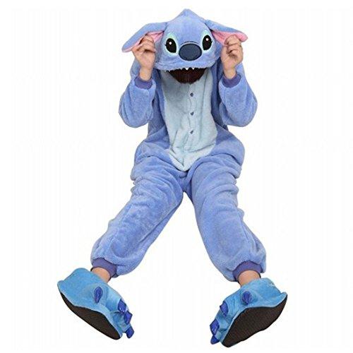 Moolee Animal style kigurumi Pyjama Adulte Anime pyjamas tenue Onesie Cospaly Fête Flannels costume(M, stitch)