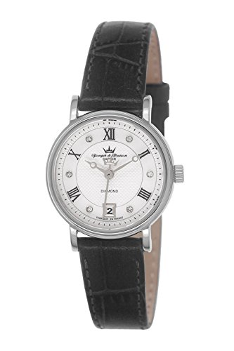 Yonger & Bresson DCC 1689/02 - Orologio da polso donna, pelle, colore: nero