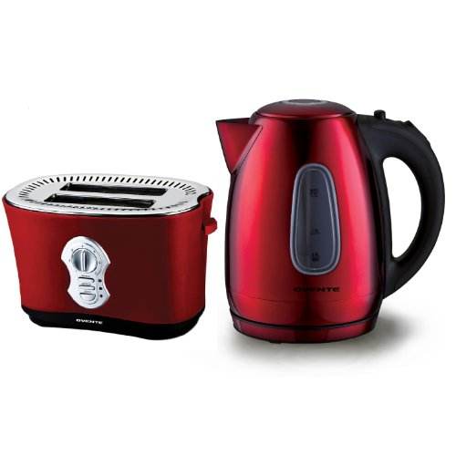 Ovente Ks96 1.7L Brushed Stainless Steel Cordless Electric Kettle With 2250 2-Slice Toaster, Red