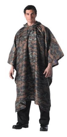Camouflage Military GI Type Enhanced Waterproof Nylon Rip-Stop Rain Poncho56 x 90 Inches; Woodland Camo