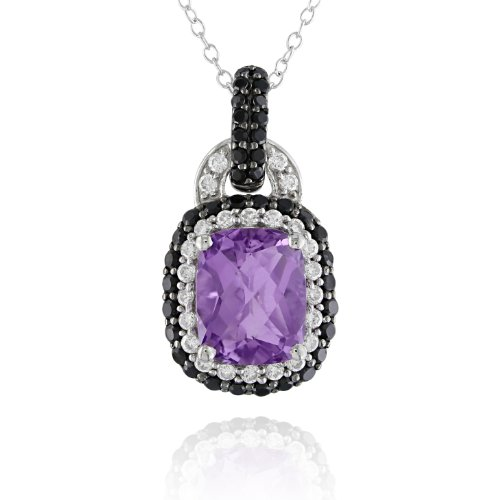 Sterling Silver Amethyst, Cubic Zirconia and Black Spinel Pendant Necklace, 18