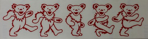 Licenses Products Grateful Dead - Dancing Bears Rub-On Sticker, Red - 1