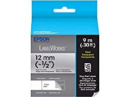 Epson LabelWorks Clear Tape Cartridge (Black on Clear) (~1/2 Inch, ~30 Feet) (LC-4TBN9)