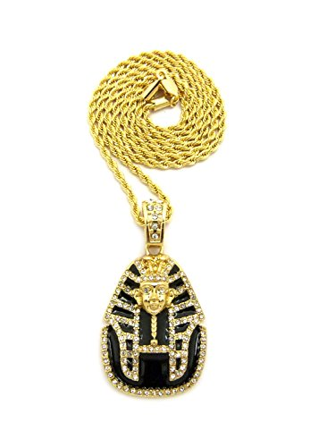 [Black Headdress Pharaoh Pendant with Chain Necklace in Gold-Tone - 3mm 18