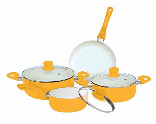 Home Basics CS00788 7-Piece Ceramic Cookware Set, Yellow