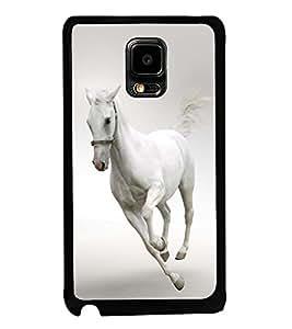 Fuson Premium 2D Back Case Cover Running white horse With white Background Degined For Samsung Galaxy Note Edge::Samsung Galaxy Note Edge N915