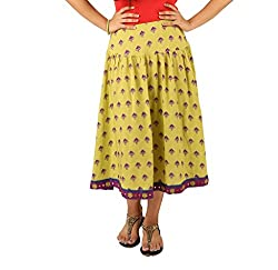 INDRICKA Lime Green colour Bio-silk (Modal) Skirt for womens.