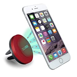 Car Mount, TechMatte MagGrip Air Vent Magnetic Universal Car Mount Holder (Red) for the for iPhone 6S/6, Galaxy S6/S6 Edge, LG G4, Apple iPhone 5S 5C 5 4S, Samsung Galaxy S5 S4, Nexus 5X, HTC M9