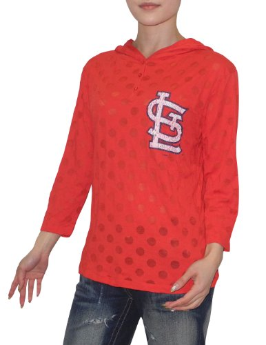 MLB St. Louis Cardinals Womens 3/4 Sleeve Hooded T Shirt (Vintage Look) XL Red at Amazon.com