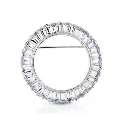 C.Z. Round Baguette Circle (.925) Sterling Silver Pin (Nice Holiday Gift, Special Black Firday Sale)