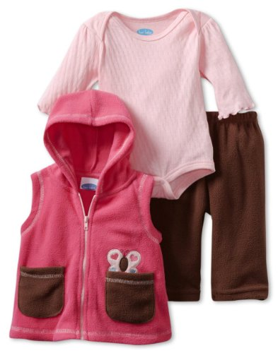Bon Bebe Baby-Girls Newborn Butterfly 3 Piece Fleece Vest And Pant Set, Pink/Brown, 3-6 Months front-82462