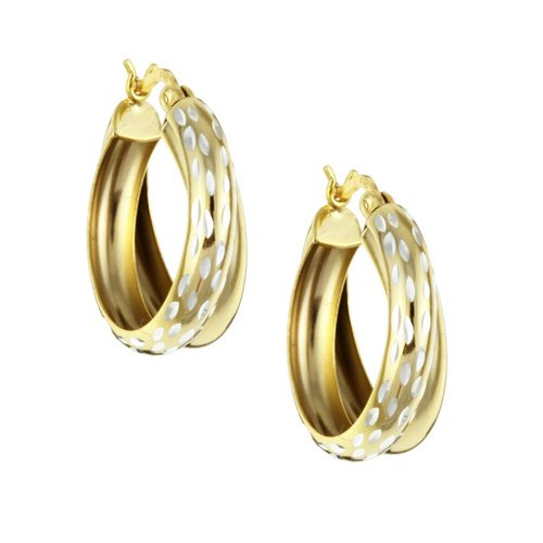 18K Yellow Gold over Sterling Silver Double Hoop Diamond-cut Earrings