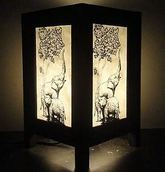 Thai Vintage Handmade Oriental Elephant Zen Art Bedside Table Lamp