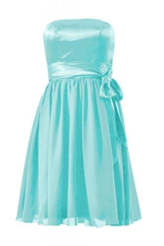 Daisyformals Short Strapless Chiffon Bridesmaid Dress(Bm3727)- Tiffany Blue