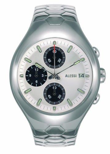 Alessi - AL 11010 - Montre Homme - Quartz - Analogique - Chronographe - Bracelet Acier Inoxydable Argent