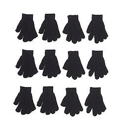 Kids Fundraiser Gloves Children Walkathon Parade Magic Gloves 12 Pairs (Age 5 to 9) (Black)