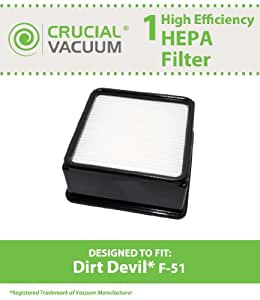 Dirt Devil F51 Replacement HEPA Filter Fits Dirt Devil F-51 Ultra Cyclonic Upright Vacuum Model UD70010; Compare to Dirt Devil F51 Vacuum Cleaner Filter Part # 304008001, 3-04008-001; Designed & Engineered By Crucial Vacuum
