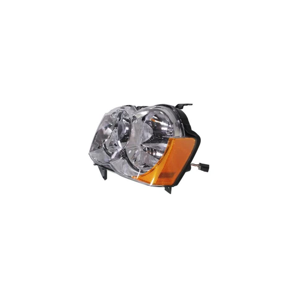 Evan Fischer EVA13572042231 New Direct Fit Headlight Head Lamp Composite Clear Lens Chrome Interior Halogen With Bulb(s) Driver Side Replaces OE# 55157483AC and Partslink# CH2518131