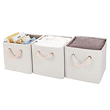 StorageWorks Polyester Storage Cube Box with Strong Cotton Rope Handle, Foldable Basket Organizer Bin, White, Bamboo Style, Medium, 3-Pack
