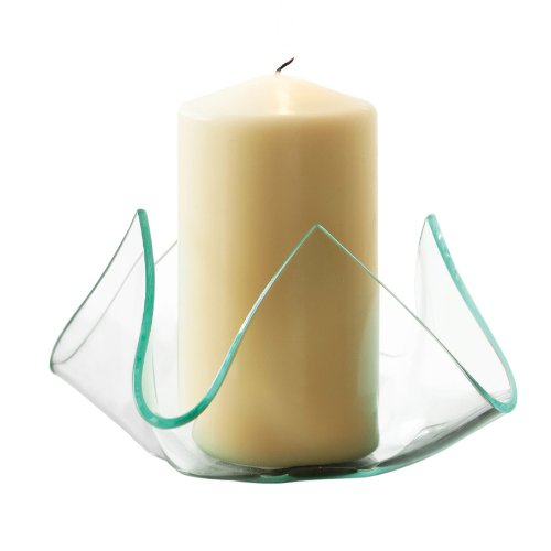 Premier Housewares Clear Glass Candle Holder with Upturned Edges, 10 x 15 x 15 cm