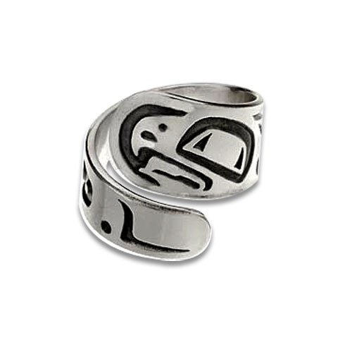 Sterling Silver Eagle Large Northwest Coast Native American Ring. Made in USA.