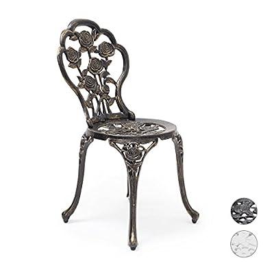Relaxdays Bistrostuhl HBT 81 x 41 x 41 cm Gartenstuhl aus Aluminium Stuhl für Terrasse und Garten antik passend zum Jugendstil Gartenmöbel mit Blumen Muster, verschiedene Farben von Relaxdays - Gartenmöbel von Du und Dein Garten