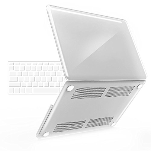 iBenzer - 2 in 1 Soft-Skin Smooth Finish Soft-Touch Plastic Hard Case Cover & Keyboard Cover for 15 inches Macbook Pro 15.6'' with Retina display NO CD-ROM, Crystal Clear MMP15R-CYCL+1