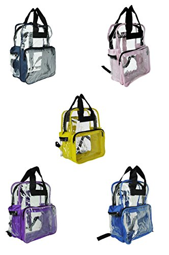 DALIX Clear Backpack Bags Smooth Plastic Purple Royal Navy Blue Pink Black Yellow