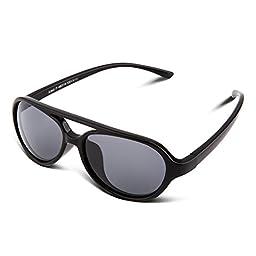 RIVBOS RBK023 Rubber Flexible Kids Polarized Sunglasses Wayfarer Glasses Age 3-10 (Aviator Black)