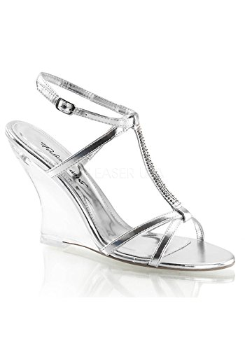 "Fabulicious Lovely-428 Women'S New Fashion 4"" T-Strap Sling Back Wedge Sandal, Color:Silver Met Pu/Clear, Size:9"