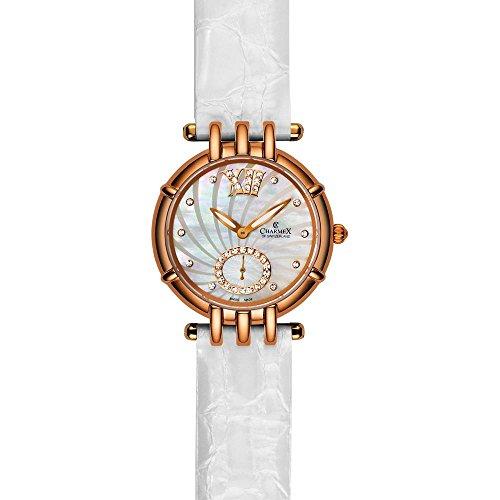 Charmex Pisa Femme 31mm Blanc Cuir Bracelet Montre 6125