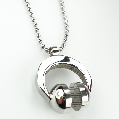 Unisex Fashion Punk Rock Mens 316L Silver Stainless Steel Polished Ball Chain Headphone Necklaces Pendants