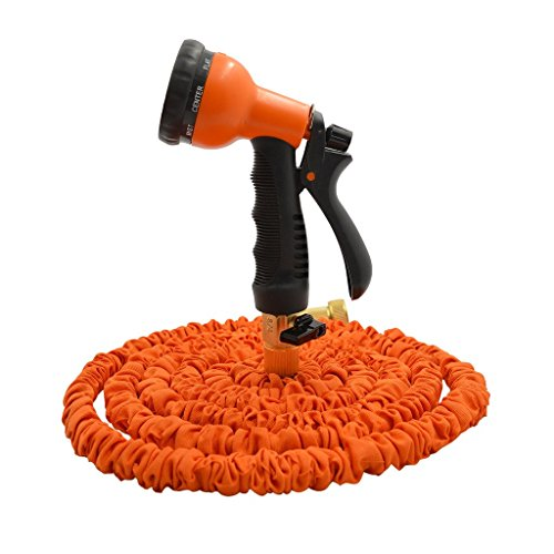Seedan Flexible Garden Water Hose with Durable Double Latex Expandable Kink-free Hose Pipe and Fits Common Style Spiral Hose Fittings + Professional Spray Gun Orange 25FT (Water Hose Cover compare prices)