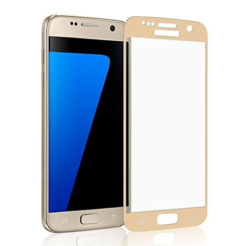 Galaxy S7 Pellicola Protettiva, KKtick Temperato di vetro Screen Protector Trasparente Antigraffi Anti-shock Resistenza all'urto Durezza 9H per Samsung Galaxy S7(d'oro)