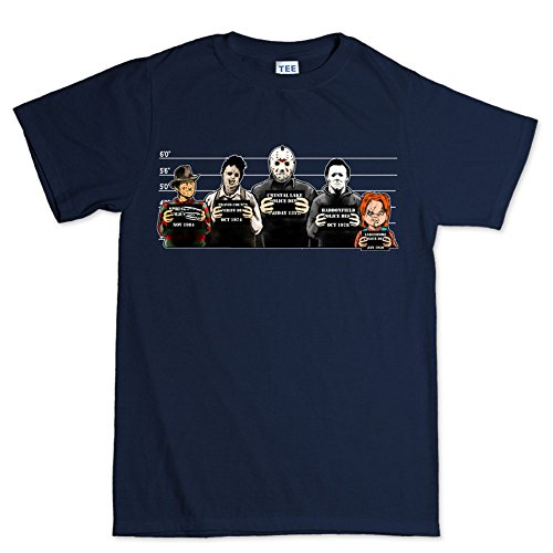 Da uomo l' orrore Usual Suspects Halloween T Shirt Navy blue X-Large