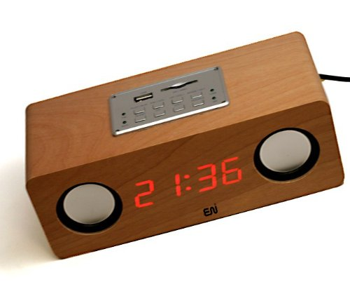 Enuo® Handmade Natural Birch Veneer Wooden Lcd Boom-Box Alarm Clock - With Silver Control Panel, Fm Radio, Usb Port, Sd / Mmc Card Slot And Aux Jack For Playing Music Directly From Your Mp3, Ipad, Ipod, Iphone, Zune