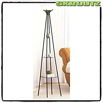 Skroutz elegant and decorative mainstays etagere 71quot floor for Etagere torchiere floor lamp with 3 glass shelves