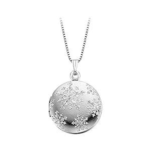 Amazon.com: Crystal Snowflake Locket in Sterling Silver: Pendants